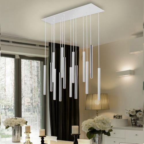 Schuller Varas 373416 LED 14 Light Chrome and White Ceiling Pendant