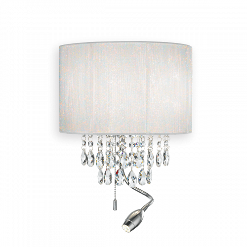 Ideal Lux 068268 Opera LED Crystal Three Light Wall Fitting White Shade Polished Chrome Frame