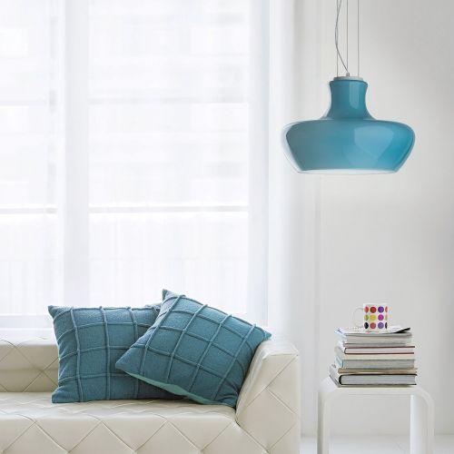 Ideal Lux 137261 Aladino 1 Light Pendant Blue Shade Satin White Frame