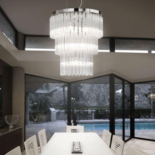 Ideal Lux 026695 Elegant 12 Light Pendant Chrome Frame