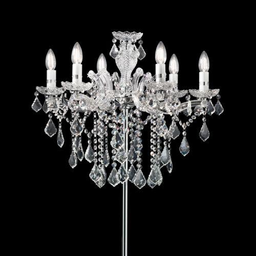 Ideal Lux 179902 Florian Crystal 6 Light Floor Lamp Chrome Frame