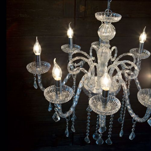 Ideal Lux 027838 Giudecca Crystal 8 Light Chandelier Clear Glass Frame
