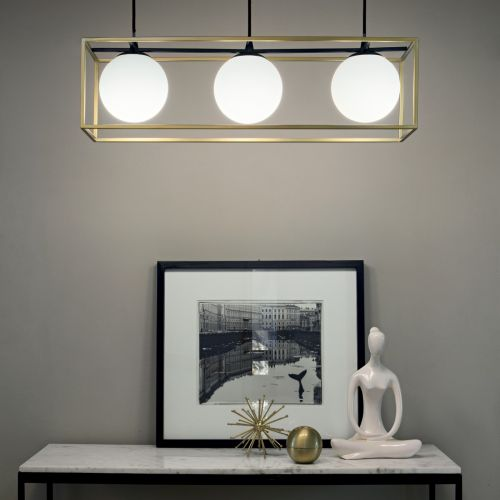 Ideal Lux 198125 Lingotto 3 Light Bar Pendant Antique Brass Frame