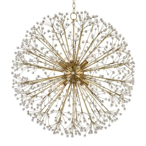 Large Crystal Pendant Chandelier 10 Light Aged Brass Hudson Valley Dunkirk 6030-AGB-CE