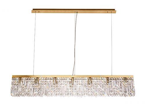 Rectangular Pendant Chandelier 7 Light E14 Gold/Crystal Kondo LEK3645