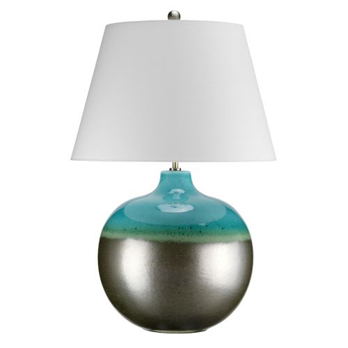Elstead LAGUNA/TL LRG Turquoise and Silver Table Lamp