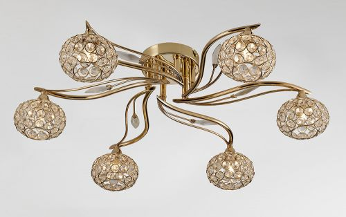 Diyas IL30966 Leimo Semi-Flush Ceiling Fitting 6 Light French Gold Crystal