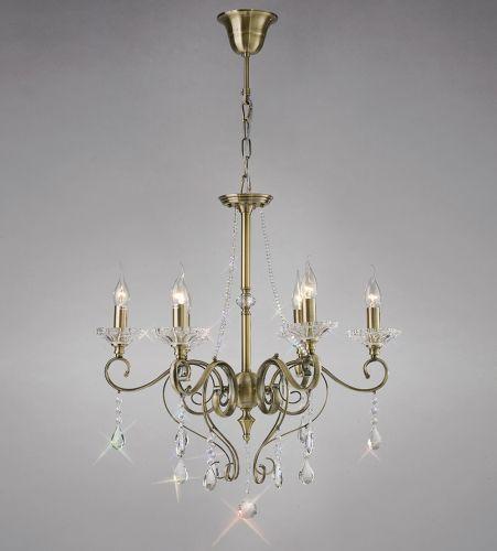 Diyas IL32076 Libra Pendant 6 Light Antique Brass Crystal