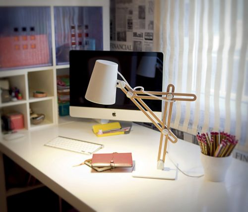 Mantra Looker 1 Light White And Wood Table Lamp M3615