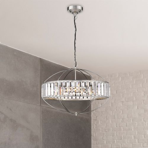 Ceiling Pendant 4 Light Fitting Satin Nickel Lekki Sherry LEK7188