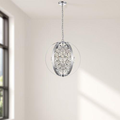 Decorative Pendant 5 Light Fitting Chrome Lekki Livingston LEK7174