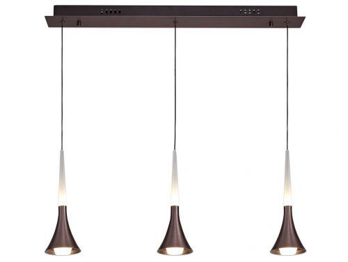 Linear Pendant 3 Light LED Fitting Satin Brown Lekki London LEK3161