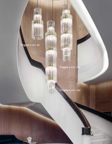 Masiero Vegas LED Glass Chandelier Champagne Leaf MAS/VEGAS-S-VRT-180