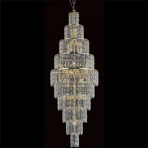 Impex CB03220/24/G New York 24 Light Czech Crystal Tall Ceiling Chandelier Gold