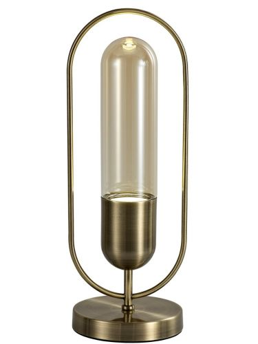 LED Table Lamp Antique Brass Amber Lekki Nifty LEK3227