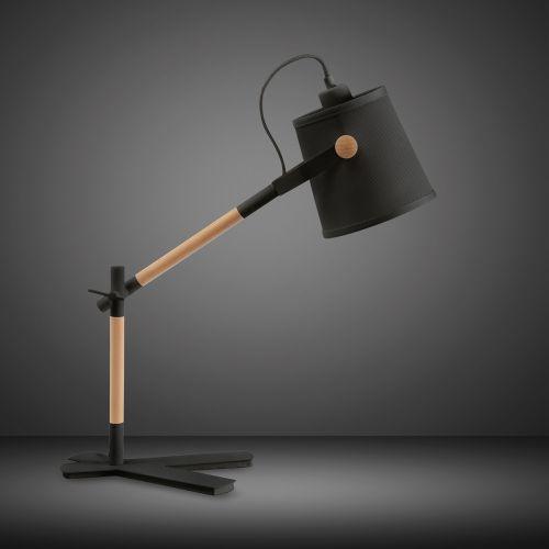 Mantra M4923 Nordica Table Lamp Black Shade 1 Light E27 Matt Black Beech Black Shade