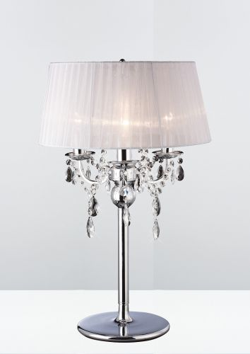 Diyas Olivia 3 Light Table Lamp Polished Chrome White Shade IL30062WH