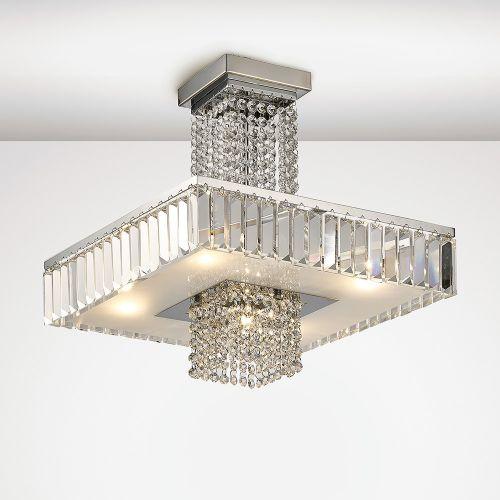 Diyas IL31550 Ophelia Crystal 5 Light Semi Flush Ceiling Fitting Polished Chrome Frame