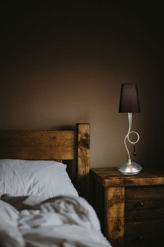 Mantra M0535 Paola Table Lamp 1 Light E14 Silver Painted Black Shade Black Glass Droplets
