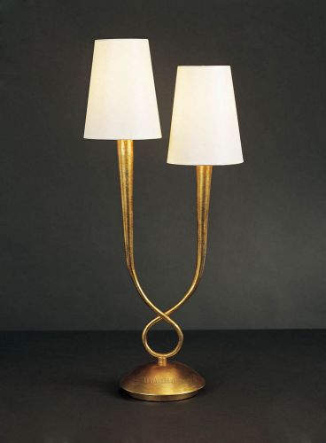 Mantra M0546 Paola Table Lamp 2 Light E14 Gold Painted Cream Shades