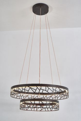 Avivo Mosaic PD18022-60-2A CB 2 Light LED Pendant Coffee Black Ceiling Fitting