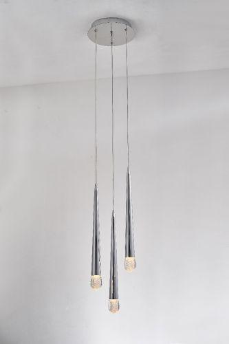 Avivo Droplet PD2309-3A CH 3 Light LED Pendant Chrome Ceiling Fitting