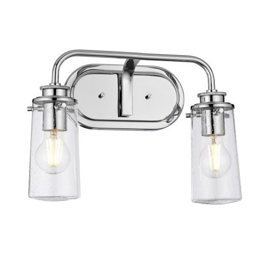 Braelyn 2 Light Wall Bracket Polished Chrome IP44 Quintessentiale QN-BRAELYN2-PC