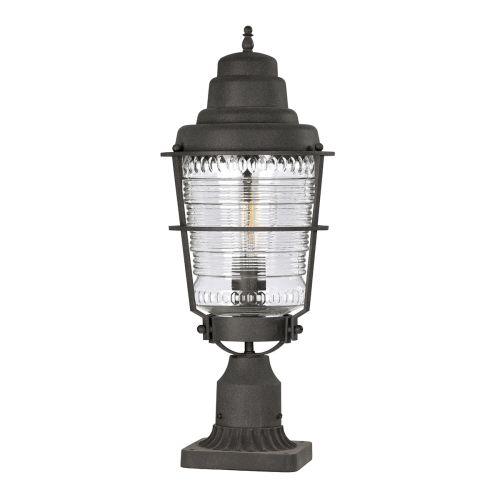 Chance Harbor 1 Light Pedestal Lantern Weathered Zinc IP44 Quintessentiale QN-CHANCE-HARBOR3