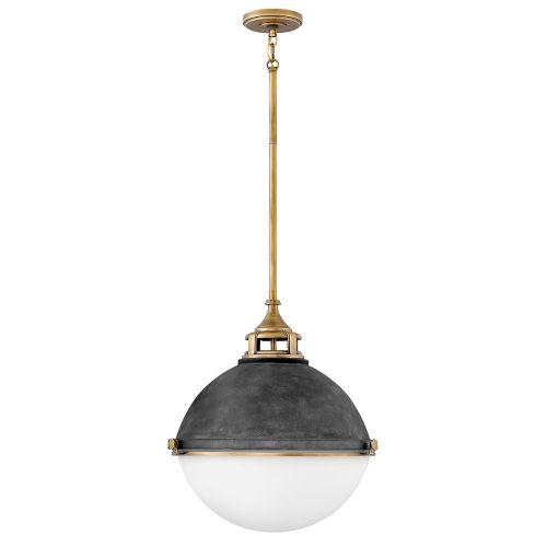 Fletcher Large 3 Light Pendant Fitting Aged Zinc Heritage Brass Quintessentiale QN-FLETCHER-P-L-AZ