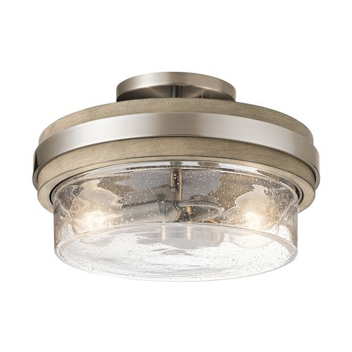 Grand Bank 2 Light Semi-Flush Ceiling Fitting Distressed Antique Grey Quintessentiale QN-GRAND-BANK-SF