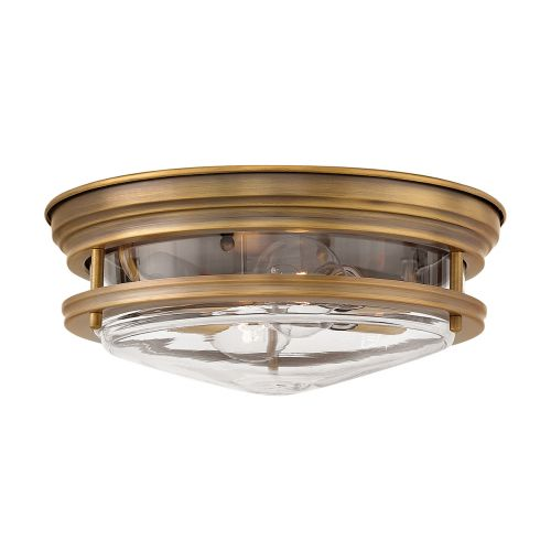 Hadrian 2 Light Flush Ceiling Fitting Clear Glass Brushed Bronze IP44 Quintessentiale QN-HADRIAN-FS-BR-CLEAR