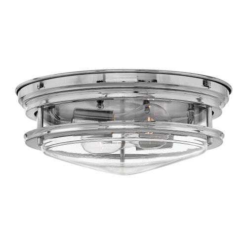 Hadrian 2 Light Flush Ceiling Fitting Chrome with Clear Glass IP44 Quintessentiale QN-HADRIAN-FS-CM-CLEAR