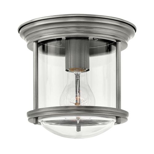 Hadrian 1 Light Flush Ceiling Fitting Clear Glass Antique Nickel IP44 Quintessentiale QN-HADRIAN-MINI-F-AN-CLEAR