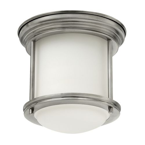 Hadrian 1 Light Flush Ceiling Fitting Opal Glass Antique Nickel IP44 Quintessentiale QN-HADRIAN-MINI-F-AN-OPAL