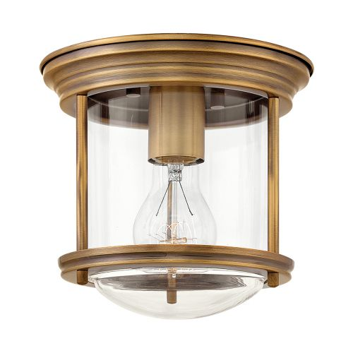 Hadrian 1 Light Flush Ceiling Fitting Clear Glass Brushed Bronze IP44 Quintessentiale QN-HADRIAN-MINI-F-BR-CLEAR