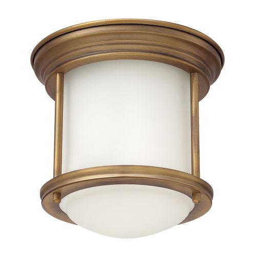 Hadrian 1 Light Flush Ceiling Fitting Opal Glass Brushed Bronze IP44 Quintessentiale QN-HADRIAN-MINI-F-BR-OPAL