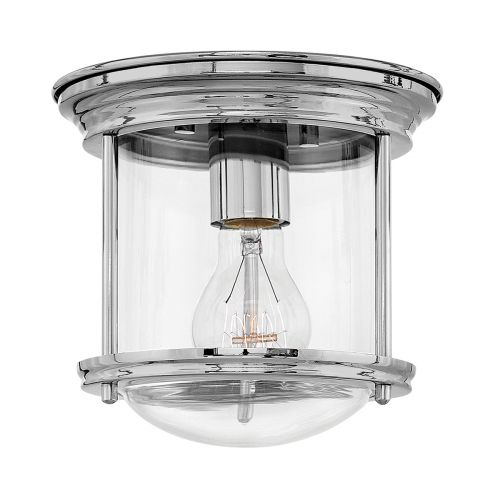 Hadrian 1 Light Flush Ceiling Fitting Clear Glass Chrome IP44 Quintessentiale QN-HADRIAN-MINI-F-CM-CLEAR