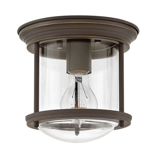 Hadrian 1 Light Flush Ceiling Fitting Clear Glass Oil Rubbed Bronze IP44 Quintessentiale QN-HADRIAN-MINI-F-OZ-CLEAR
