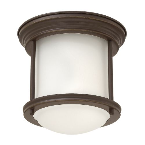 Hadrian 1 Light Flush Ceiling Fitting Opal Glass Oil Rubbed Bronze IP44 Quintessentiale QN-HADRIAN-MINI-F-OZ-OPAL