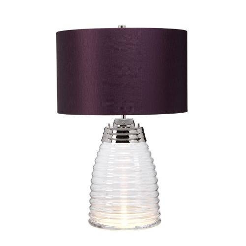 Milne Table Lamp Aubergine Metalwork Polished Nickel Glassware Clear Quintessentiale QN-MILNE-TL-AUB
