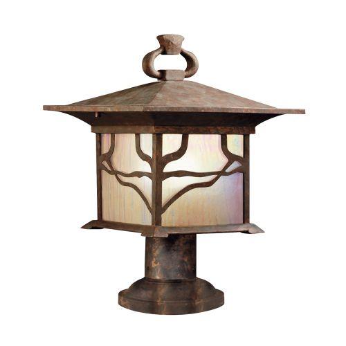 Morris 1 Light Pedestal Lantern Distressed Copper IP44 Quintessentiale QN-MORRIS3