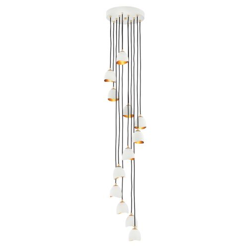Nula 12 Light Pendant Fitting Shell White/Luxe Gold Quintessentiale QN-NULA-12P