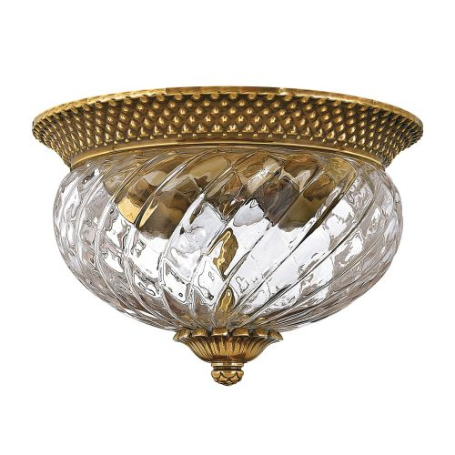 Plantation 2 Light Flush Ceiling Fitting Burnished Brass Quintessentiale QN-PLANTATION-FS-BB