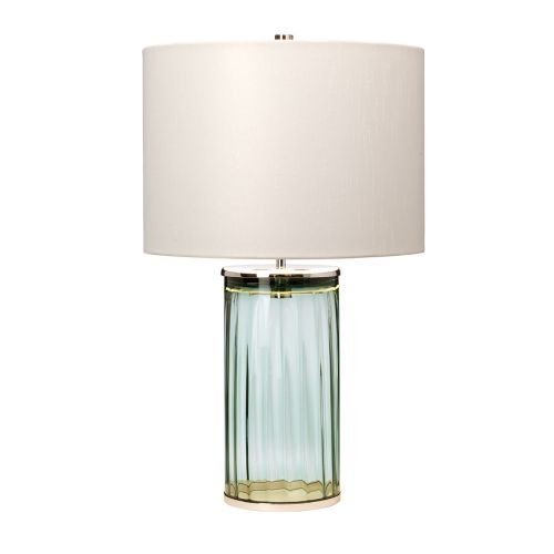 Reno Table Lamp Polished Nickel Green Glassware Quintessentiale QN-RENO-GREEN-PN
