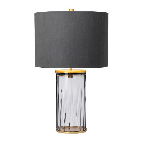 Reno Table Lamp Aged Brass Smoked Glassware Quintessentiale QN-RENO-SMOKE-AB