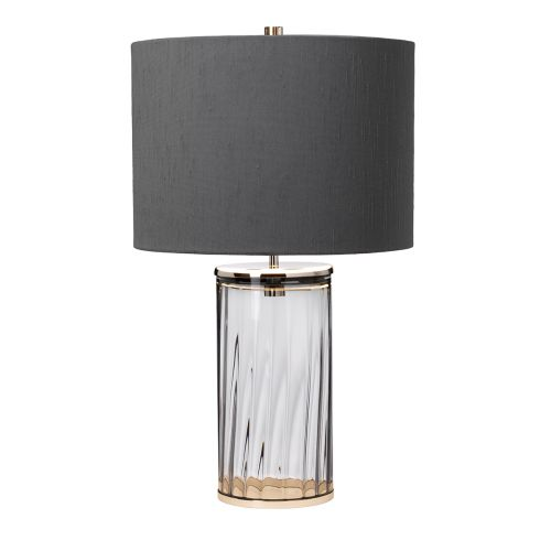 Reno Table Lamp Polished Nickel Smoke Glassware Quintessentiale QN-RENO-SMOKE-PN
