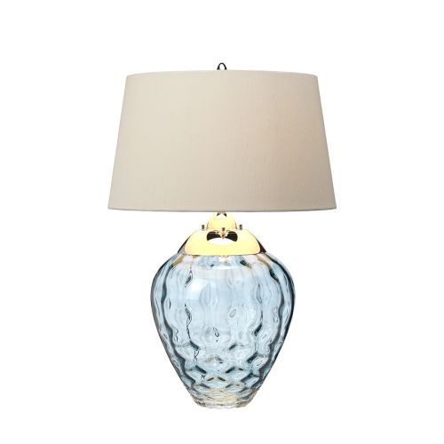 Samara Table Lamp Polished Nickel Light Blue Glassware Quintessentiale QN-SAMARA-TL-BLU