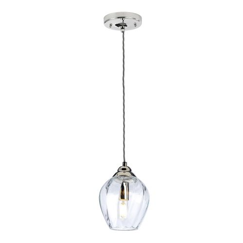 Tiber 1 Light Pendant Fitting Polished Nickel Quintessentiale QN-TIBER-P-CLEAR