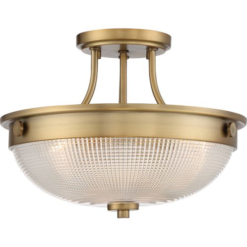 Quoizel Mantle 2Lt Semi-Flush Ceiling Light Weathered Brass QZ/MANTLE/SF WS