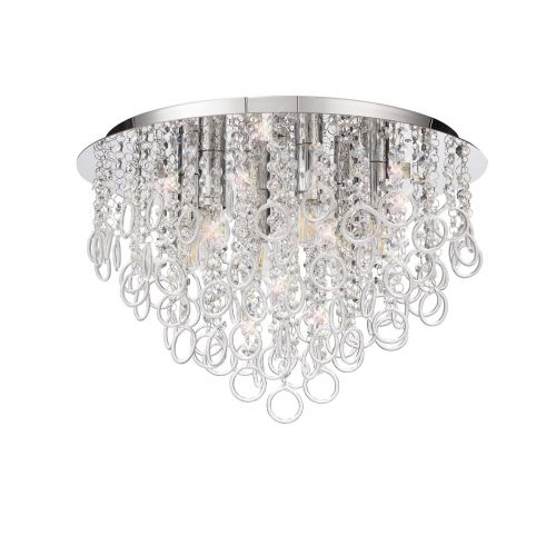 Flush Ceiling 6 Light Polished Chrome/Crystal Revi LEK3760
